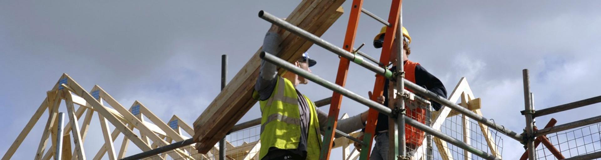 Bouwvakker met hout op ladder